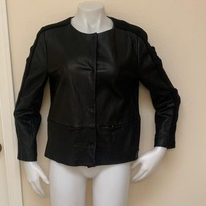 PIAZZA SEMPIONE Black Leather Wool Panel Jacket 12